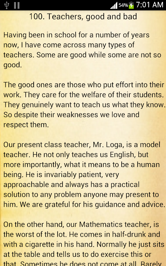 essays types of teachers