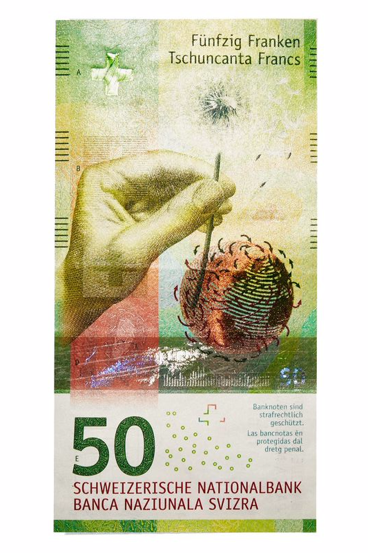 "50 Swiss franc Those whimsical Swiss are embarking on a series featuring ""the many facets of Switzerland."" Faces are out; objects, places, and characteristics are in. This one depicts wind."
