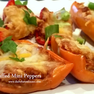 Chorizo Stuffed Mini Sweet Peppers plus Mini Nachos