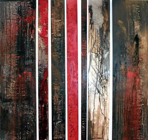 Commoditised: Bar Code, by Jeannette Unite. In her early career Unite produced private and personal abstract work, often panels with lines and flat areas of blood-reds. She says abstraction is a form of concealing. Picture: SUPPLIED