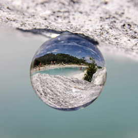 Turquoise water and white sand by Danny Lapierre - Artistic Objects Glass ( sand, glass, sphere, turquoise, water,  )