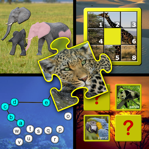 Kids animal puzzle and memory