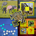 Kids animal puzzle and memory icon