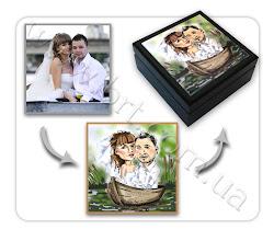 Photo: Подарок на годовщину свадьбу - шкатулка с фото. Рисунок с фотографии, производство шкатулки - Бюро Рекламных Технологий