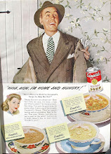 Photo: To me, the guy looks so desperate for food he'll chow down on anything. The wallpaper looks so 40's early 50's to me.