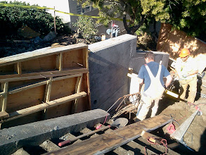 Photo: Sean (left) and Neil, from San Francisco Department of Public Works, continuing to work on new retaining wall on Hidden Garden Steps site (16th Avenue, between Kirkham and Lawton streets in San Francisco's Inner Sunset District) in February 2013; for more information about the Hidden Garden Steps project, please visit http://hiddengardensteps.org.