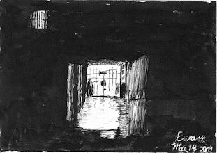 Photo: 微光之一2011.03.14鋼筆 從走廊望去,深夜的看守所,只剩一點點光亮…