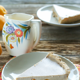 Vegan Roasted Apricot Custard Pie.