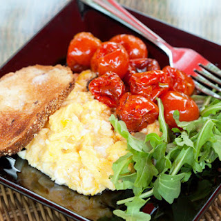 Roasted Tomatoes with Scrambled Eggs and Arugula.