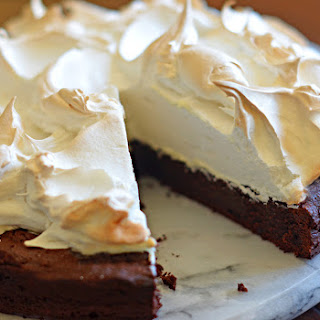 Flourless Chocolate Cake with Meringue Topping.
