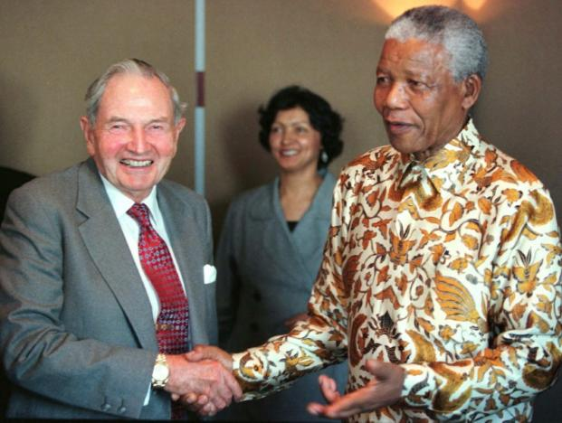 David Rockefeller and Nelson Mandela. Picture: REUTERS