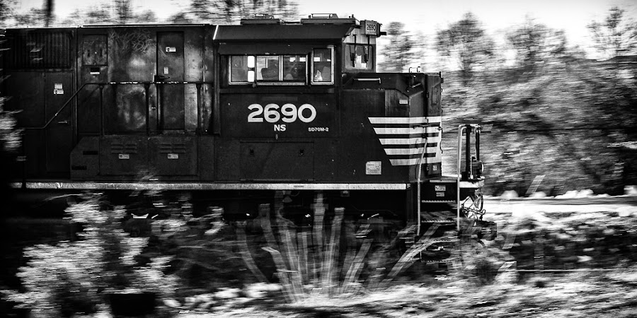 Norfolk Southern 2690 by Greg Booher - Transportation Trains ( norfolk southern, 2013, black and white, railroad, tennessee, motion blur, panning, greg booher, locomotive, january, ns 2690, rail, train, sd70m-2, bristol )