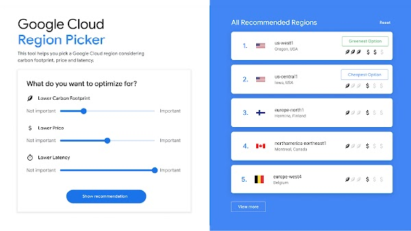 User interface showing the Google Cloud region picker to allow businesses to meet their sustainability goals.