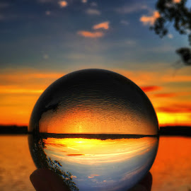 Crystal ball sunset  by Rob King - Artistic Objects Glass ( beauty, crystal, marvelous, sunset, lake,  )
