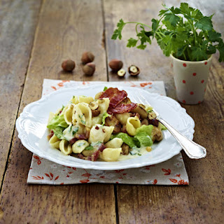Creamy Bacon and Mushroom Pasta with Romaine Lettuce.