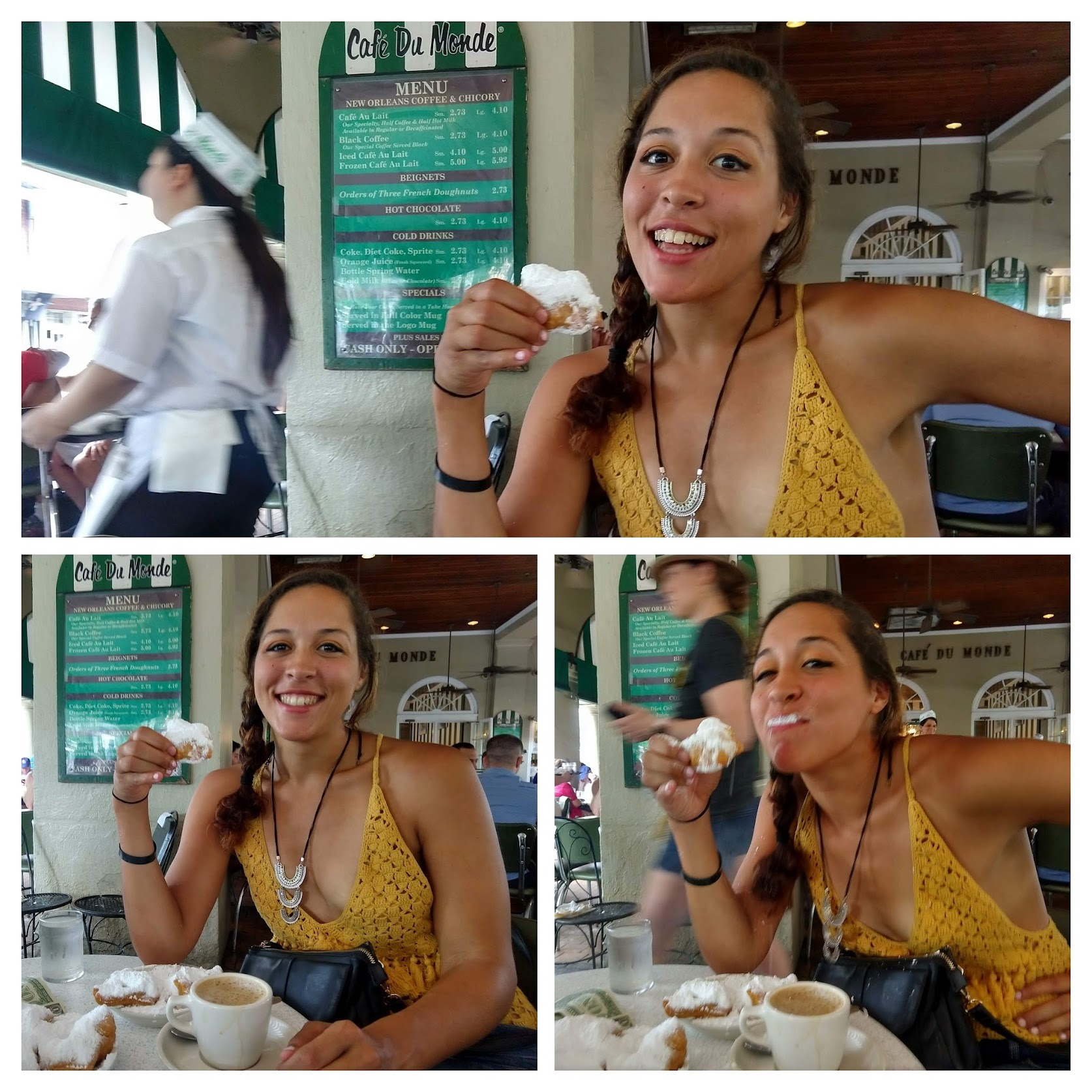 Sarah Fay eating beignets in New Orleans at Cafe Du Monde.