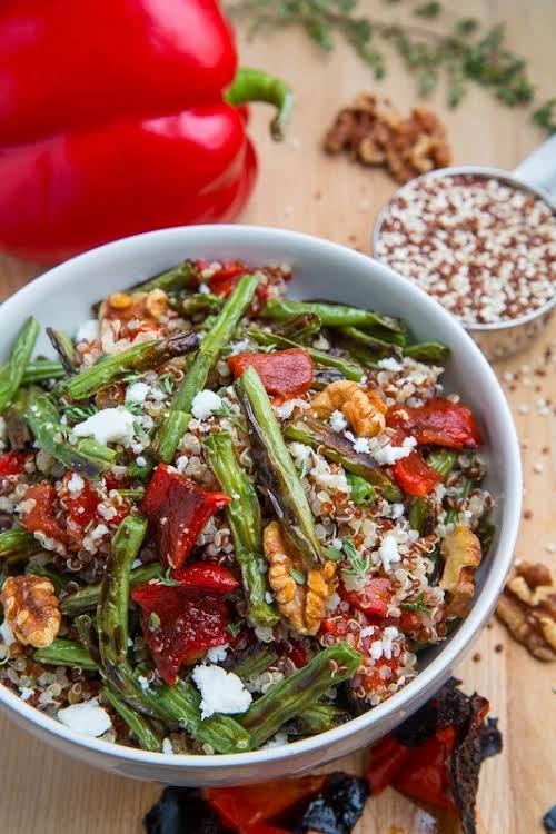 "Roasted Green Bean Red Pepper Quinoa Salad""A quinoa salad with roasted red..."