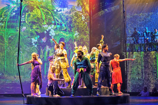 """The stage production of """"A Hot Summer Night's Dream"""" on Celebrity Edge."""