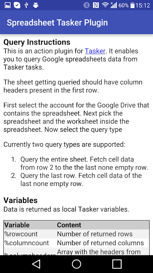 Spreadsheet Tasker Plugin- screenshot