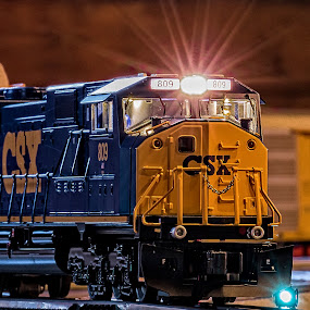 CSX by Michael Wolfe - Artistic Objects Toys ( lights, toy, lionel, csx, train engine, o-scale )