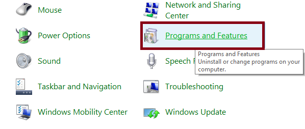Uninstall program via control panel