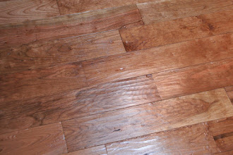 Photo: Finished kitchen floor - scaled cherry, oiled with WOCA Master Oil.