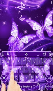 Purple Neon Butterfly Keyboard Theme - náhled
