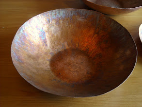 """Photo: 7"""" hammered copper bowl w/patina"""