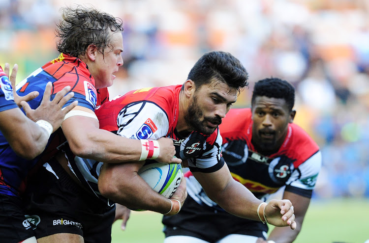 405013f4c44 Damian de Allende of the Stormers is tackled by Andries Coetzee of the  Lions during the