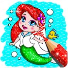 Glitter mermaid coloring pages