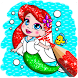 Glitter mermaid coloring pages for kids