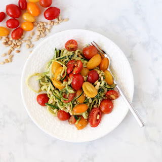 Easy Pesto Zoodles with Cherry Tomatoes.