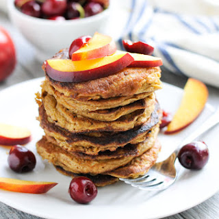Oatmeal Pancakes with Nectarines and Cherries Recipe