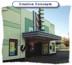 Photo: Creativity - Color design and restoration painting of Historic Hilton Village Theater in Newport News, Va.  Color concepts were imaged on PC, printed and presented to an Architectural Review Board.  This design was approved and applied with minor modification.