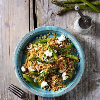 Lentil Salad with Asparagus and Goat Cheese.