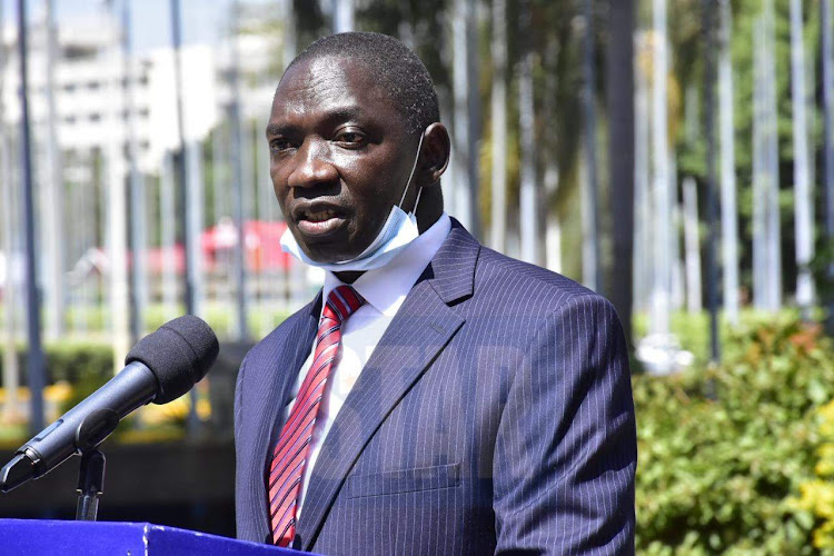 Government's Spokesperson Col. (Rrd) Cyrus Oguna during a press statement at KICC on Tuesday,15, 2020.