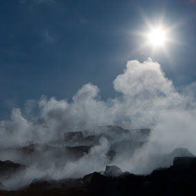 Geothermal area in Iceland by Þorsteinn Ásgeirsson - Landscapes Weather ( iceland, lava, steaming, sky. blue, sun, geothermal area )
