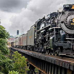 Full steam ahead ! by Michael Wolfe - Transportation Trains ( passenger car, steam engine, railroad tracks, steam train, railroad, train, bridge, steam )