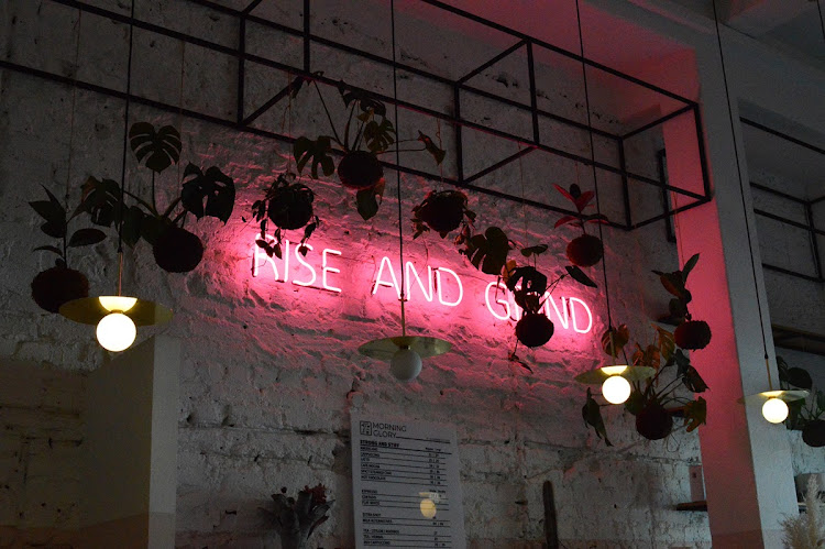 A tongue-in-cheek neon sign reading 'rise and grind' alludes to Morning Glory's coffee offerings.