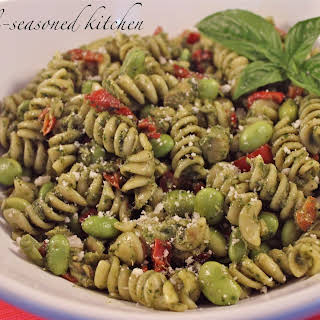 Tuna and Roasted Red Pepper Pasta Salad with Pesto Dressing.