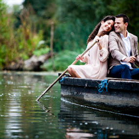 by Dušan Marčeta - Wedding Bride & Groom ( water, love, wedding, couple, beauty, bride, smile, boat, river )