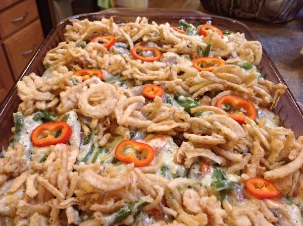 Green Bean Casserole W/ Sweet Peppers & Cheese Recipe