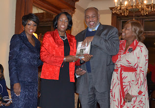 Photo: Carlton and Akua Henderson-Brown (center) Honorees with Cheryl Wills (left) and Rev. Dr. Valerie Oliver-Durrah, Pres and CEO NTAC