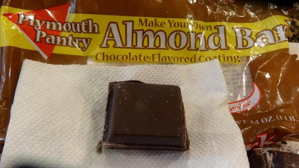 Now for the chocolate.  I use almond bark chocolate because it is lower...