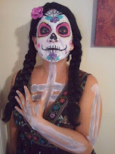 Photo: Day of the Dead sugar skull face paint/makeup by Bella the clown. Call to book Bella today at 888-750-7024
