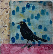 """Photo: Grackle No. 2 from grackle series. 8 x 8"""" monotype background with woodcut bird, collaged onto 7/8"""" wood panel. Each piece has a different background and can highlight one of ten different grackle woodcuts."""