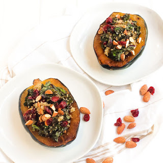 Kale, Quinoa, and Cranberry Stuffed Acorn Squash