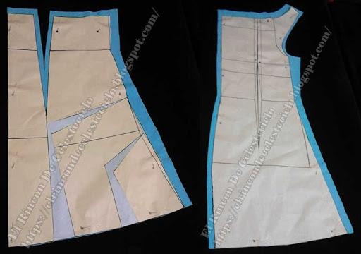 Falda ampliada con escualización en delantero y espalda