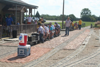 Photo: David Hannah Photo HALS 2009-0815   Ron Pasley engineer on Gil Freitag's loco.  Gary McCoy is conductor.