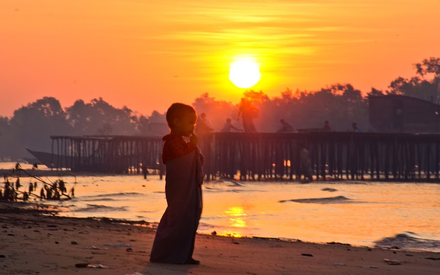 The SUn and Young Boy by Kyaw Min Htike - Babies & Children Children Candids